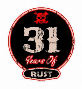 Distressed Aged 31 Years Of Rust Motif For Retro Rat Look VW etc. External Vinyl Car Sticker 100x90mm